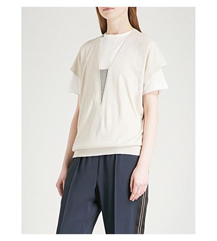 BRUNELLO CUCINELLI V-neck cashmere and silk-blend top (Milk
