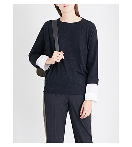 BRUNELLO CUCINELLI Layered wool and cashmere-blend jumper (Anracite