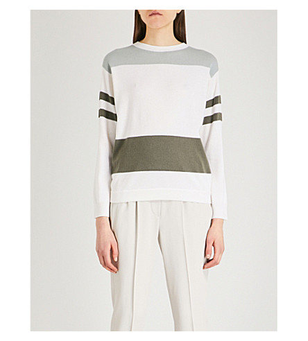 BRUNELLO CUCINELLI Striped wool cashmere and silk-blend jumper (Milk+military+green