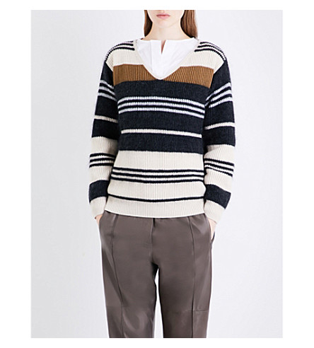 BRUNELLO CUCINELLI Striped wool, mohair and silk-blend jumper (Camel+beige