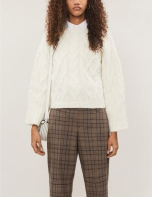 Cable-knit cropped cashmere-blend jumper