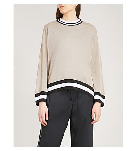BRUNELLO CUCINELLI Striped linen-blend jumper (Cobblestone