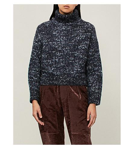 BRUNELLO CUCINELLI 斑点粗壮针织马海毛, 羊绒和丝绸混合毛衣 (蓝色
