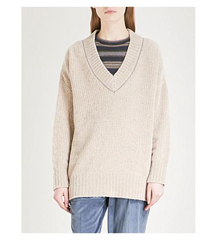 CUCINELLI and jumper Bead silk blend neck embellished cashmere BRUNELLO Beige V qaOPFqxd