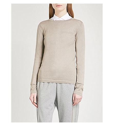 BRUNELLO CUCINELLI Metallic-knit cashmere-blend sweater (Walnut
