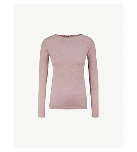 BRUNELLO CUCINELLI Metallic-knit cashmere and silk-blend jumper (Mauve