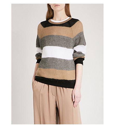 BRUNELLO CUCINELLI Lurex striped knitted jumper (Black+brown