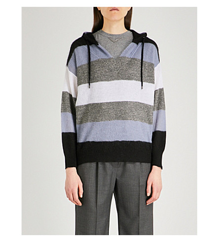 BRUNELLO CUCINELLI Striped knitted hoody (Black+grey