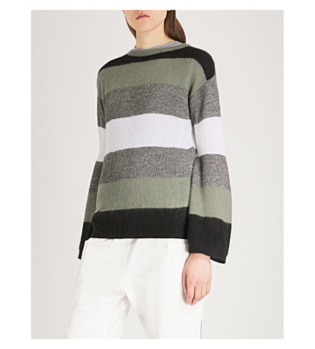BRUNELLO CUCINELLI Metallic wool-blend jumper (Black+dusty+green