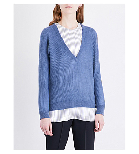 BRUNELLO CUCINELLI V-neck knitted jumper (Oxford+blue