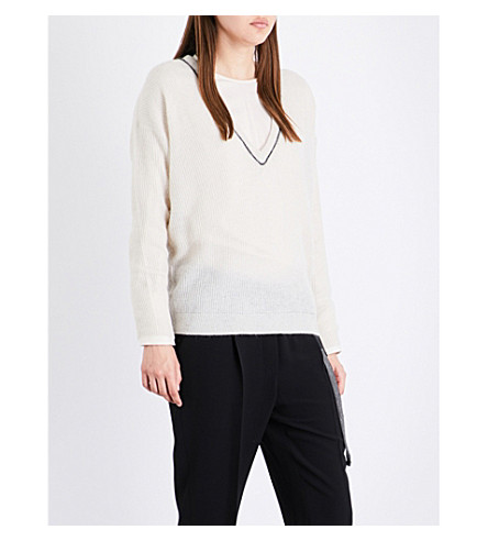BRUNELLO CUCINELLI Beaded-detail knitted jumper (Milk