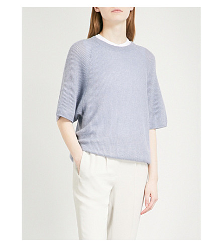 BRUNELLO CUCINELLI Oversized metallic ribbed-knit jumper (Periwinkle