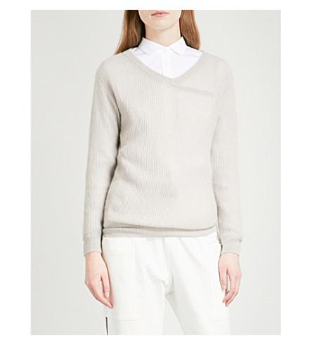 BRUNELLO CUCINELLI V-neck metallic ribbed-knit jumper (Gyser