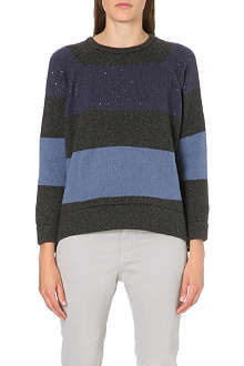 BRUNELLO CUCINELLI Striped sequin-detailed cashmere jumper