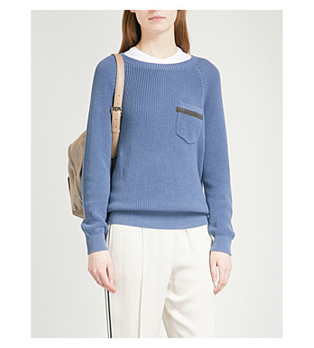 BRUNELLO CUCINELLI Boat neck bead-embellished knitted jumper (Avio