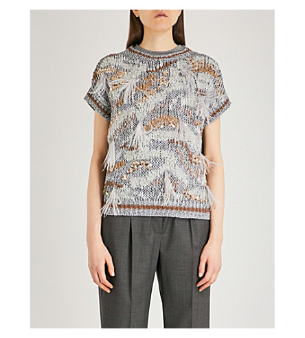 BRUNELLO CUCINELLI Feather-detailed cotton-blend top (Periwinkle+nutmeg