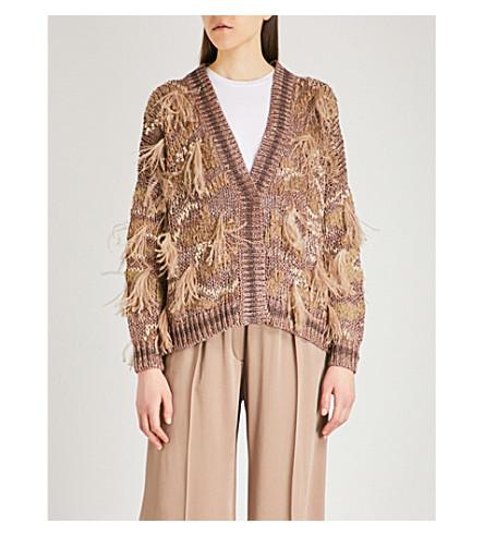 BRUNELLO CUCINELLI Feather-detailed cotton-blend cardigan (Tobacco+purple