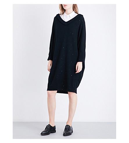 BRUNELLO CUCINELLI Sequin-embellished cashmere and silk-blend dress (Black