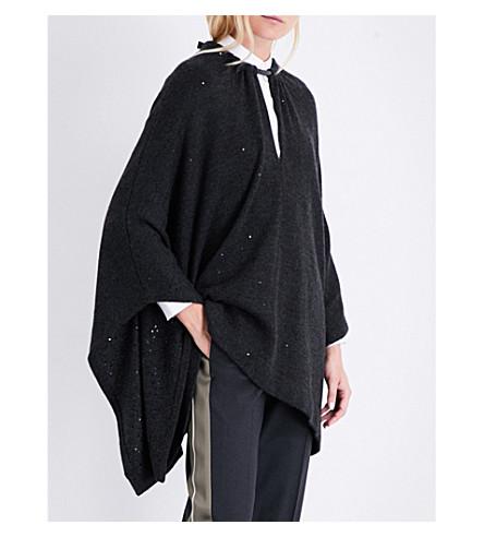 BRUNELLO CUCINELLI Cashmere and silk-blend poncho (Black+stone