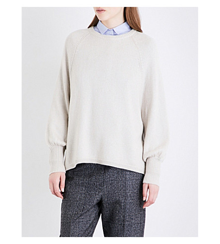 BRUNELLO CUCINELLI Sequin-embellished asymmetric cashmere and silk-blend jumper (Milk
