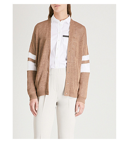 BRUNELLO CUCINELLI Striped-sleeve knitted cotton cardigan (Nutmeg+white