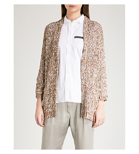 BRUNELLO CUCINELLI Sequin-embellished knitted cardigan (Brown+beige