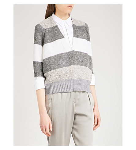 BRUNELLO CUCINELLI Striped knitted cardigan (Pale+grey