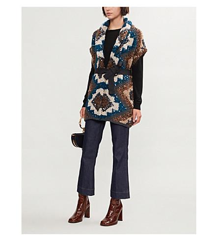 BRUNELLO CUCINELLI 亮片装饰的羊绒, 马海毛和丝绸混合开襟衫 (灰 + 绿