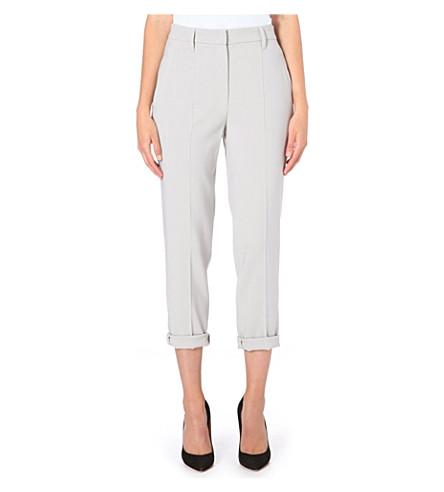 BRUNELLO CUCINELLI Straight high-rise crepe trousers (Dove