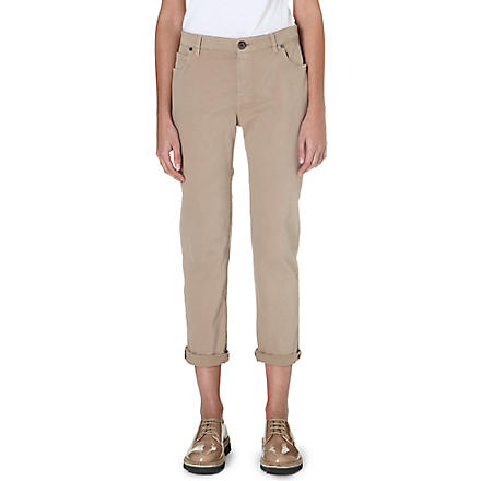 BRUNELLO CUCINELLI Cropped stretch-cotton chinos (Camel