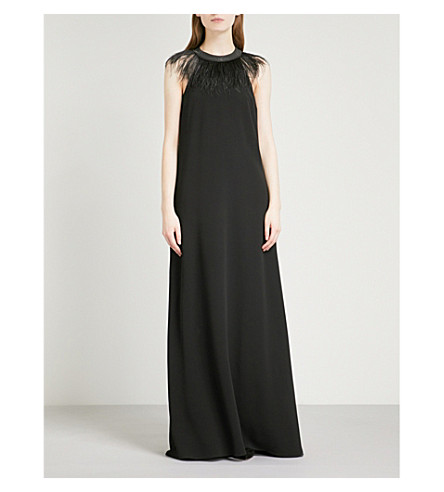 BRUNELLO CUCINELLI Feather and bead-embellished crepe gown (Black