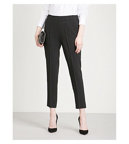 BRUNELLO CUCINELLI Tapered cropped crepe trousers (Black
