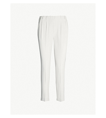 BRUNELLO CUCINELLI Tapered cropped crepe trousers (Buttermilk