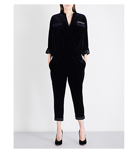 BRUNELLO CUCINELLI Monili chain-embellished velvet jumpsuit (Black