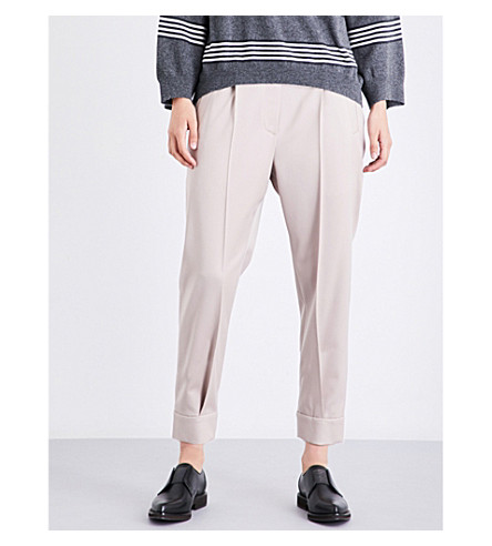 BRUNELLO CUCINELLI Cuffed tapered stretch-wool trousers (Dusty+pink