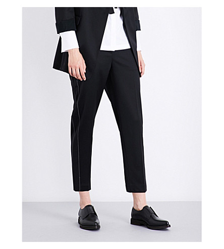 BRUNELLO CUCINELLI Beaded-detail high-rise tailored stretch-wool trousers (Black