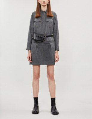 Collared straight wool playsuit