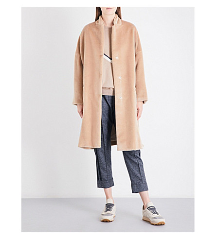 BRUNELLO CUCINELLI Oversized alpaca coat (Honey