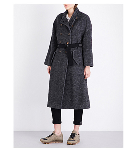 BRUNELLO CUCINELLI Waist-belt woven coat (Charcoal