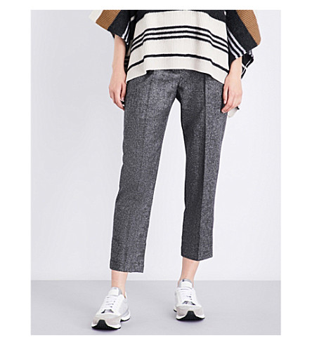 BRUNELLO CUCINELLI High-rise cropped stretch wool and cashemere-blend trousers (Pepper+salt