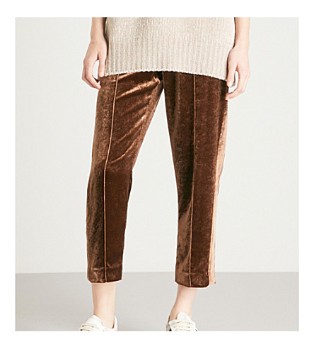 BRUNELLO CUCINELLI Relaxed-fit velvet jogging bottoms (Chocolate