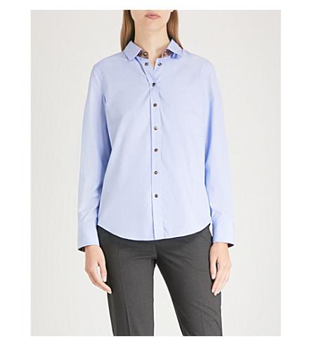 BRUNELLO CUCINELLI 对比修剪棉府绸衬衫 (天 + 蓝
