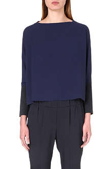 BRUNELLO CUCINELLI Jersey-panel long-sleeved silk top