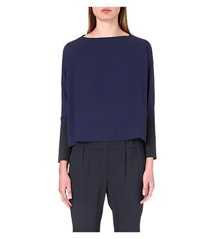 BRUNELLO CUCINELLI Jersey-panel long-sleeved silk top (Twilight