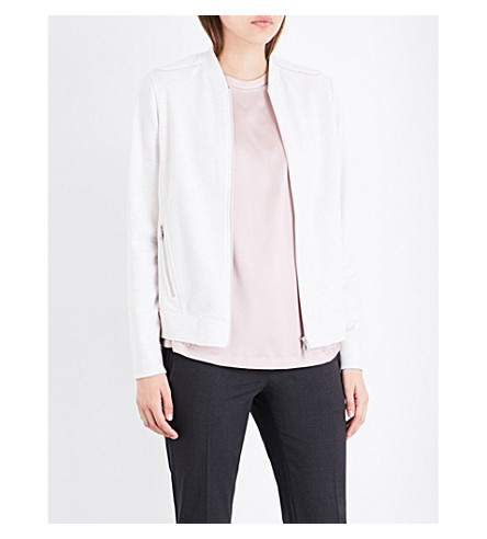BRUNELLO CUCINELLI Diamanté cashmere-cotton blend bomber jacket (Marble