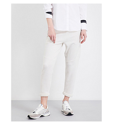 BRUNELLO CUCINELLI Cropped cashmere and cotton-blend jogging bottoms (Marble
