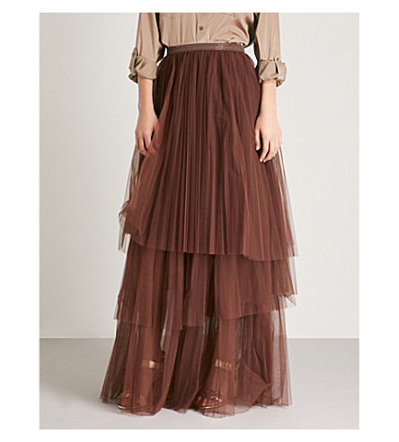 BRUNELLO CUCINELLI Bead-embellished tulle maxi skirt (Bordeaux