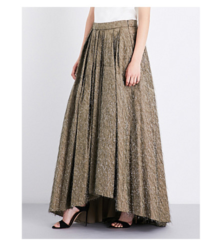 BRUNELLO CUCINELLI High-rise embellished cotton-blend max skirt (Bark