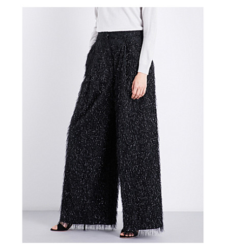 BRUNELLO CUCINELLI Wide-leg embellished cotton-blend trousers (Black