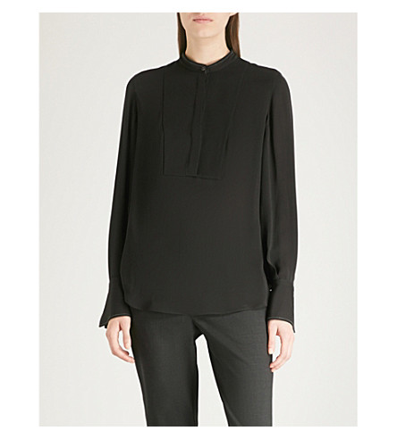 BRUNELLO CUCINELLI 围兜细节丝绸绉衬衫 (黑色